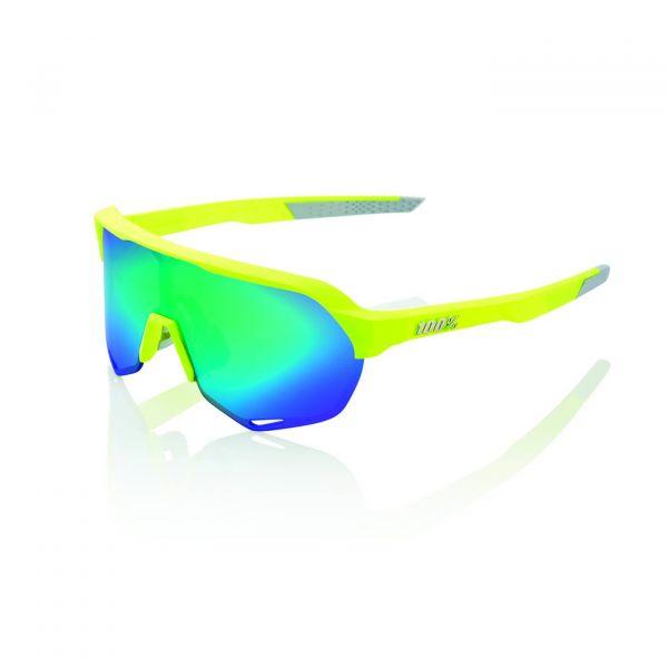 Lunettes S2 - Jaune Fluo Mat - Vert Miroir