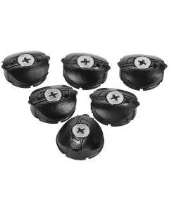 Kit caches anti-poussière et vis de graissage Light Action Inox, Zero Inox et Chromo-Moly (6 caches noirs et vis de graissage X/2)